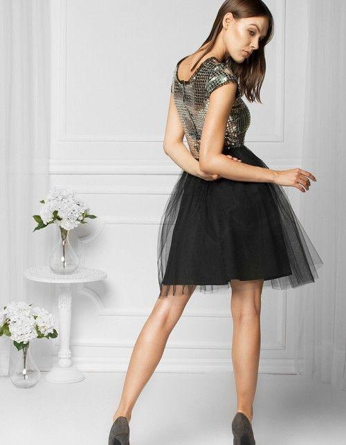 Sukienka tiulowa srebrna FAL