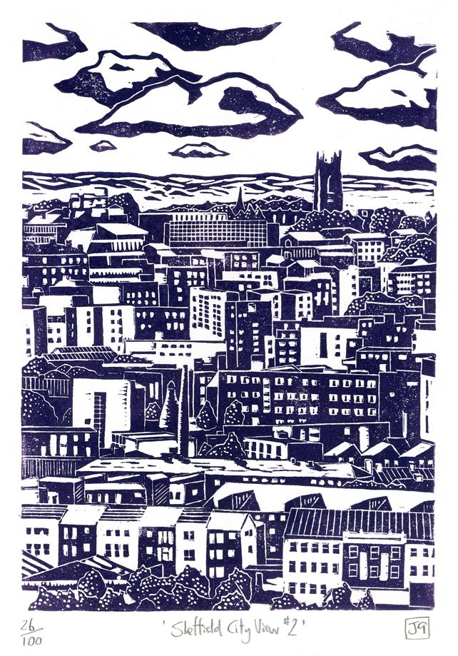 Sheffield city view # 2 - lino cut designed and printed by James Green / James Green Printworks, on Folksy