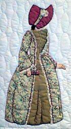 """#2 """"Bonnet Girl Relatives & Friends"""" Annabelle Lee - Two patterns ARE included in the package. BLOCK TWO.  Annabelle has two different Victorian dress versions. One has a lace trim down the front (she is holding an embroidery hoop) and the other has a over dress and under skirt. The bonnets are different also."""