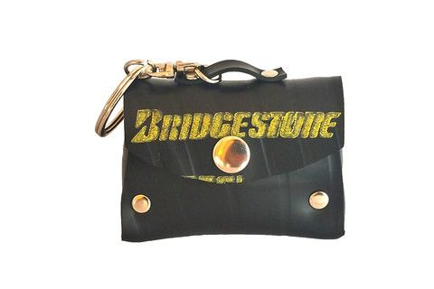 "Recycle Creative - Recycled Inner Tube -""Bridgestone"" Mini Briefcase Keyring"