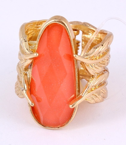 """Fold-Over Ring / Top Face: 1""""x 0.75"""" / Coral Acrylic / Gold Tone / Lead & Nickel Compliant      $11.25"""