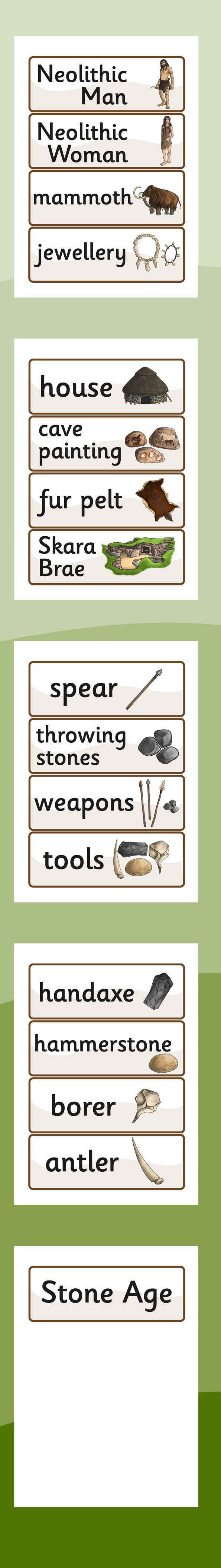 KS2 The Stone Age- The Stone Age Word Cards
