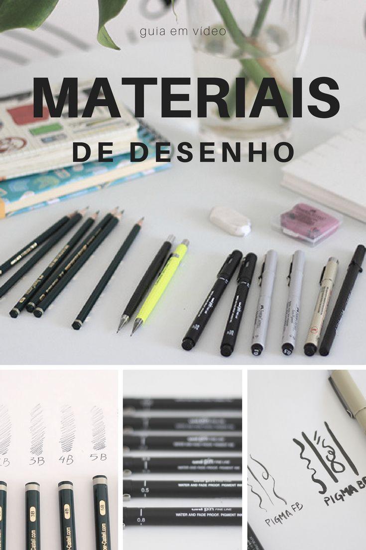 Materiais de Desenho: Aqui estão alguns dos meus materiais de desenho favoritos. Lápis para desenho, Papel para desenho, Canetas para finalizar o desenho. Guia completo no YouTube - Rodrigo Falco