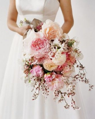 Cherry Blossom Bouquet - cascading, with peonies, ranunculus, and sweet peas