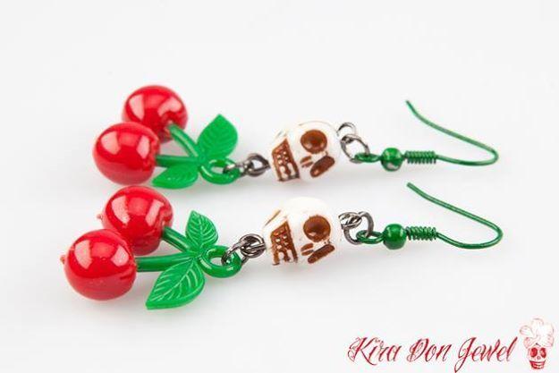 cherry skullies earrings