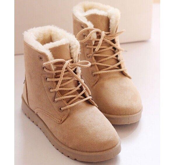 Nouvelle arrivée cheville bottes automne hiver femmes casual en cuir bottes chaudes de fourrure talon plat bottes de neige mode hiver chaussures femme(China (Mainland))