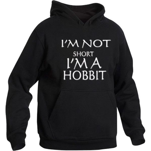 Im Not Short Im a Hobbit Hoody Hoodie Top Funny Lord Rings Gift Present Idea