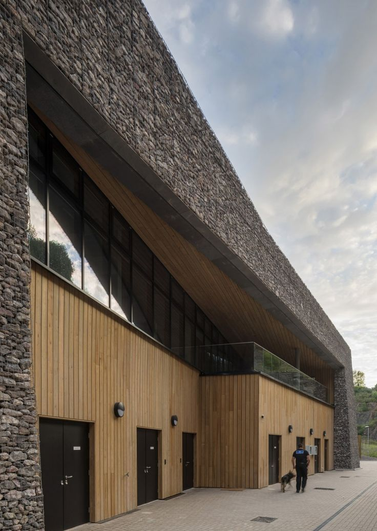 gabion clad building to reduce noise of police firing range inside http://www.gabion1.co.uk