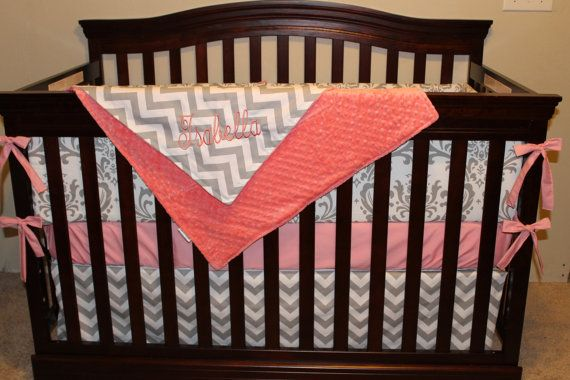 Pink Chevron and Damask Crib Bedding Ensemble by DesignsbyChristyS, $145.00
