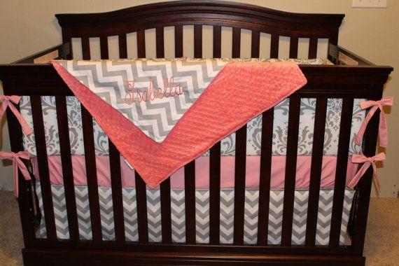 Coral, Chevron, and Damask Crib Bedding Ensemble 1. Baby Pink Chevron Skirt 2. Herringbone Pond Sheet 3. Love Bliss/Baby Pink Minky Blanket 4. Love Bliss/Love Bliss Bumper