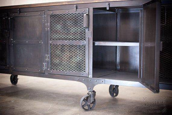 Custom 9' Industrial Rolling Media Cabinet Wood & Steel by JReal ...