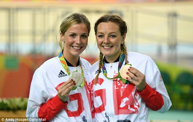 Becky James poses with her silver medal and Katy Marchant with her bronze