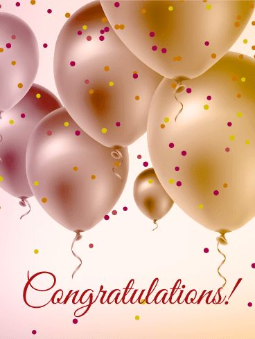 pearl color balloons congratulations card congratulations are in