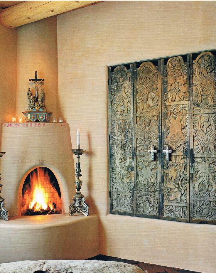The 25 best ideas about adobe fireplace on pinterest for Kiva style fireplace