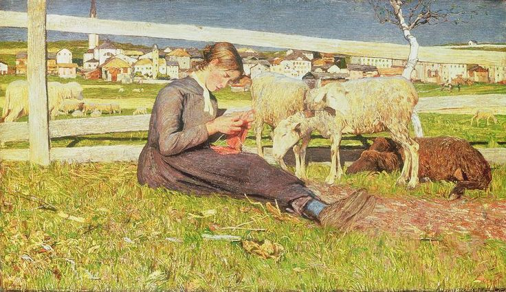 A Girl Knitting Painting - Giovanni Segantini - Straight - Animals - Outside - Meadow - Fence - Crossed Legs - Dog?