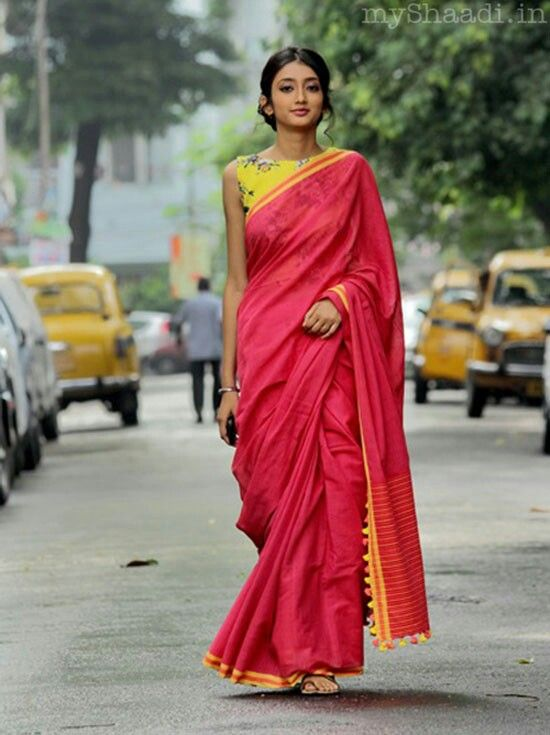 Lovely, simple pink and yellow saree - by Gaurang Shah