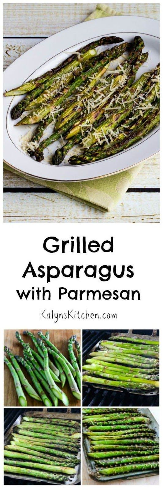 Grilled Asparagus with Parmesan is a perfect side dish for a spring or summer get-together, and I promise that asparagus fans will swoon over this dish! [from KalynsKitchen.com]