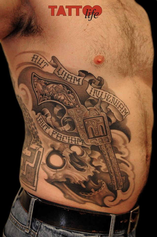 gun pelvic tattoo - 637×960