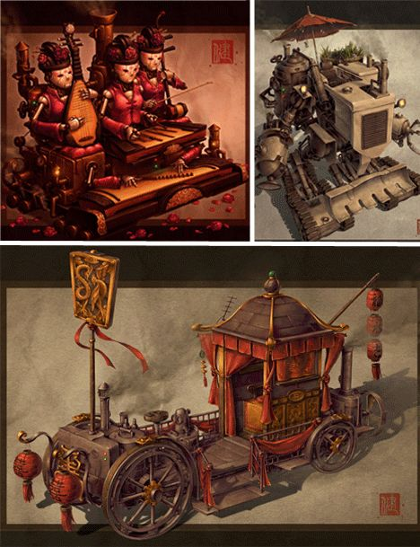 Asian Steampunk Art: Strange or Serious Green Machines?