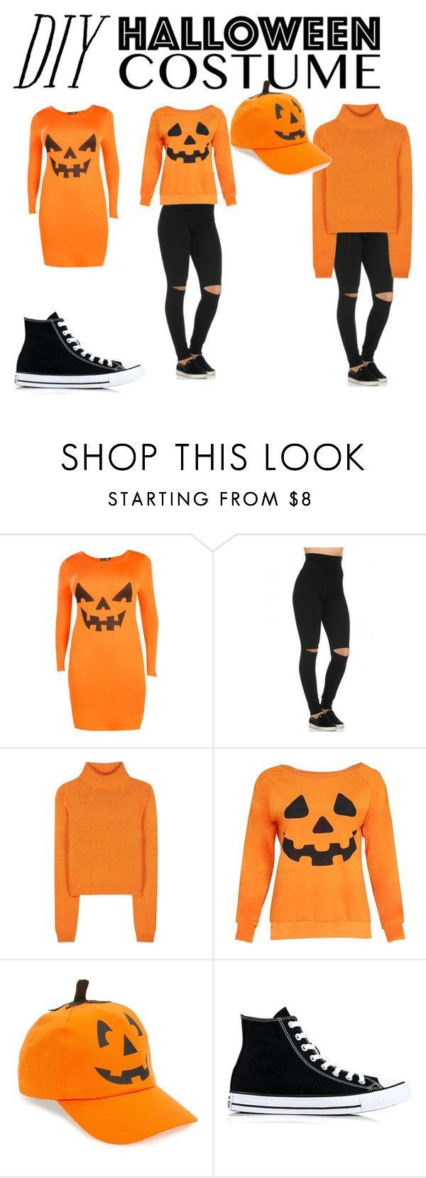"""DIY Pumpkin costume"" by heyoitsadriene ❤ liked on Polyvore featuring Boohoo, Acne Studios, David & Young, Converse, halloweencostume and DIYHalloween"