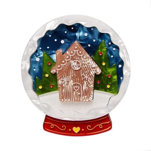 """Erstwilder Collectable Season's Greetings Brooch. """"No need to go globetrotting these holidays. Not when you can have a seasonal scene contained within a handy snow globe."""""""
