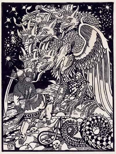 И.Билибин. Conte de l,isba. Paris, 1931. Оригинал иллюстрации. Бумага, тушь, перо. Собрание М.В.Сеславинского