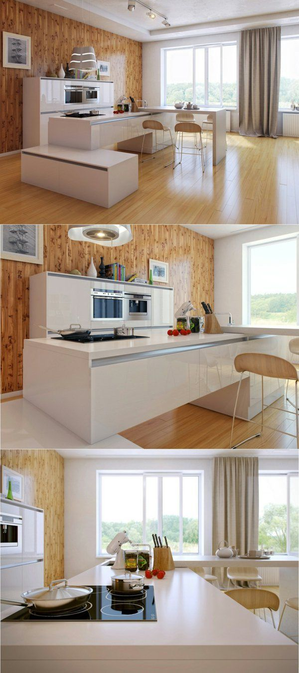 arbeitsplatte küche moderne küche gestalten holzwand lange gardinen