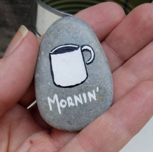 Hand painted stone – coffee lover – morning person – painted rock – refrigerator magnet – funny gift – humor – beach stone