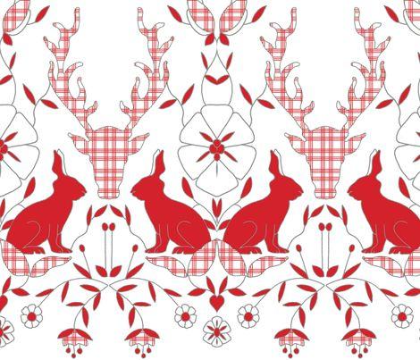 scando_rabbits_plaid fabric by holli_zollinger on Spoonflower - custom fabric