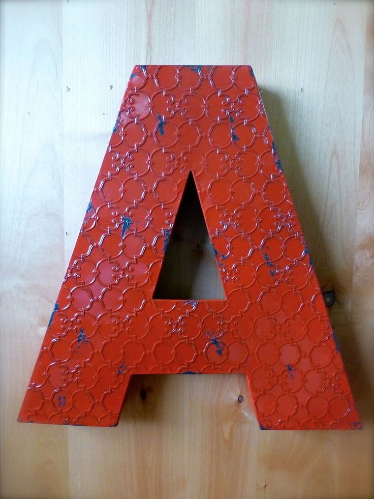 "INDUSTRIAL RED METAL WALL LETTER ""A"" 20"" TALL rustic vintage decor novelty sign #RusticPrimitive"