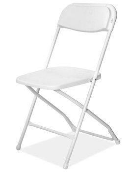 White Folding Chairs These stylish chairs are comfortable and fold flat for easy storage.