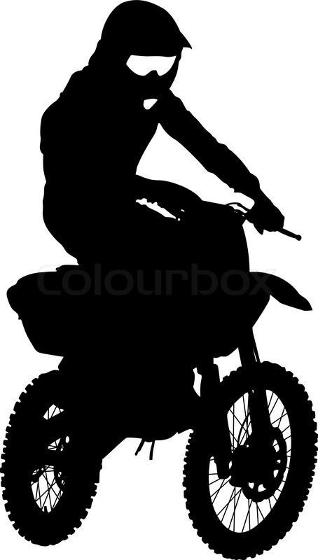 Stock vector of 'Black silhouettes Motocross rider on a motorcycle. Vector illustrations.'