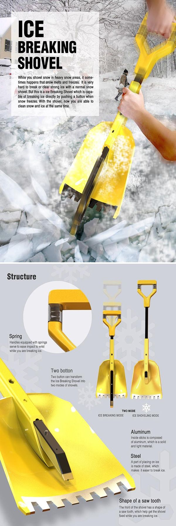 Water is confusing. Can't make up its mind, whether it wants to be ice or snow. Either way, you got to break your back shoveling your sidewalk. Luckily, the Ice Breaking Shovel is a nifty multi-tool, because frozen water can be such a double-sided affair. Use it either as an ice cracking tool, or an ice shoveling tool.