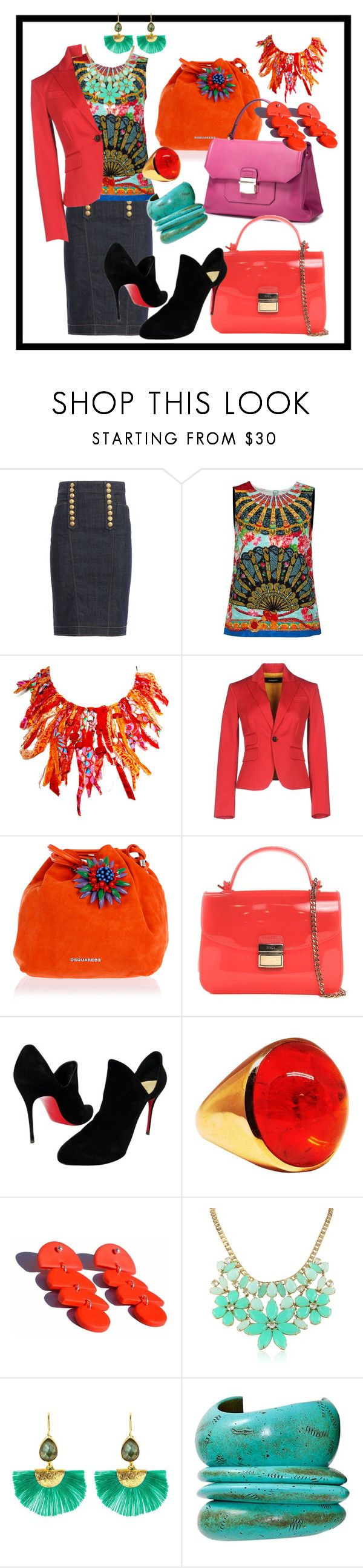 """""""Multiple Accessory Options Because Of The Color In The Blouse"""" by kareng-357 ❤ liked on Polyvore featuring Dsquared2, Dolce&Gabbana, NuCèlle, Furla, Christian Louboutin, Veda, Kate Spade and Ottoman Hands"""