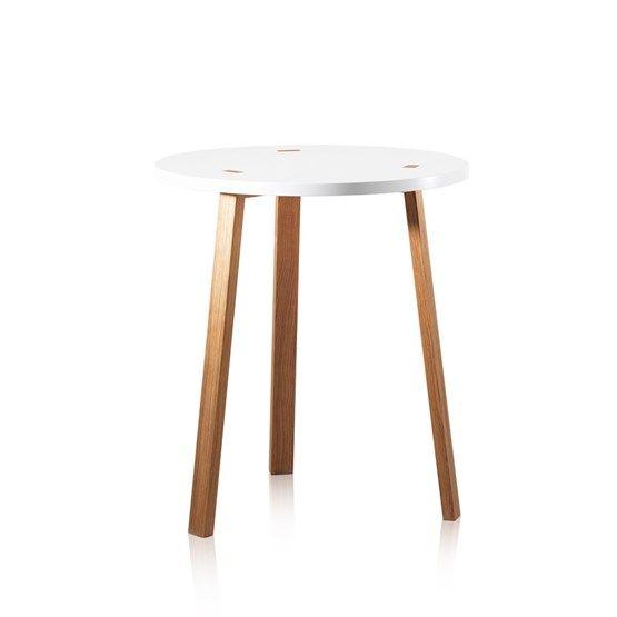 Happy bord - Happy bord - vit, ben i ek, ø65 cm