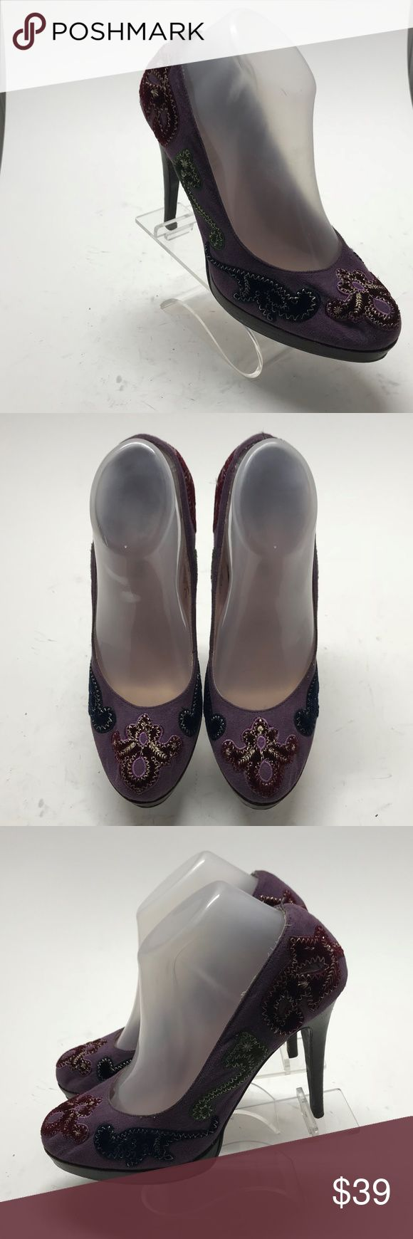 Colin Stuart Purple Fabric Boho Embellished Heels Colin Stuart Purple Fabric Boho Embellished Appliqué Heels Pumps Size 8 M  please look at pictures overall in really good condition, some wear on bottom soles Colin Stuart Shoes Heels