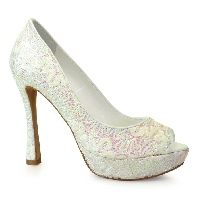 Sapato de Noiva Peep Toe Branco Gliter Werner