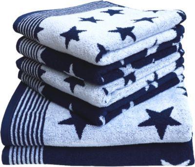 #Unisex #Frottierserie #Sterne #blau   #50 #x #100 Mit modischem Sternendessin zeigt sich diese Dyckhoff Frottier Serie ´´Stars´´. Das Modell besteht aus saugfähigem Baumwollfrottier. - beidseitiges Sternendessin in wechselnder Farbkombination- - erhältliche Maße: ca. 50 x 100 cm (Handtuch) ca. 70 x 140 cm (Duschtuch) Material: 100% Baumwolle ---Pflegehinweise--- - Maschinenwäsche bei 60°C - für den Trockner geeignet Gütesiegel TEXTILES VERTRAUEN - schadstoffgeprüft nach Öko-Tex Standard…