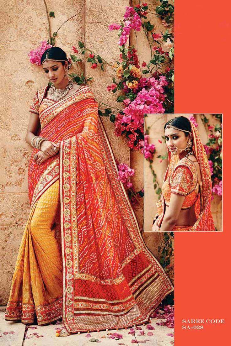 Red  Viscose Bridal Saree