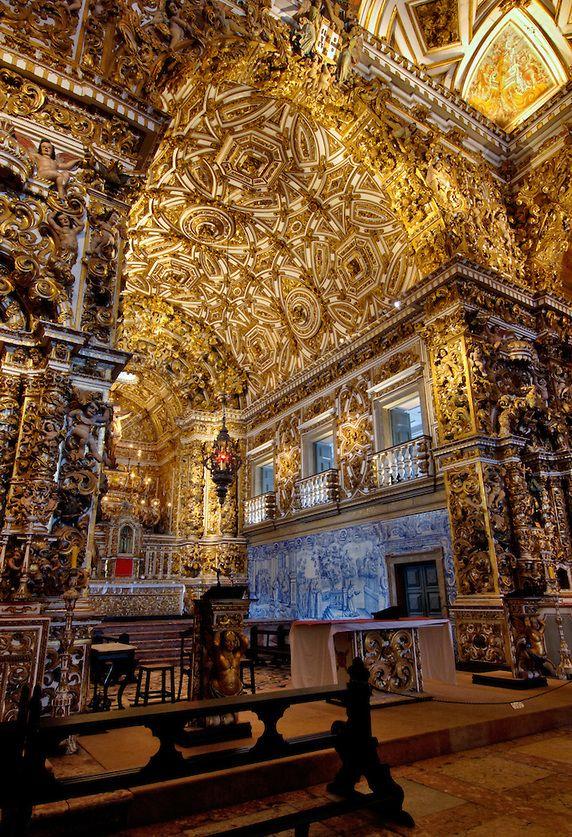 Baroque architecture inside Church of São Francisco - Salvador, Brazil