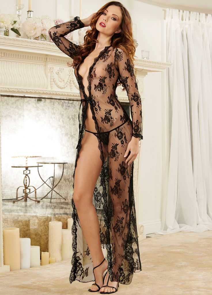 Dreamgirl Sheer Lingerie Gown Peignoir Set £32.99  Delicate lace open front gown with scalloped lace edge trim, long sleeves and adjustable ribbon tie front closure. #dreamgirl #sexylingerie