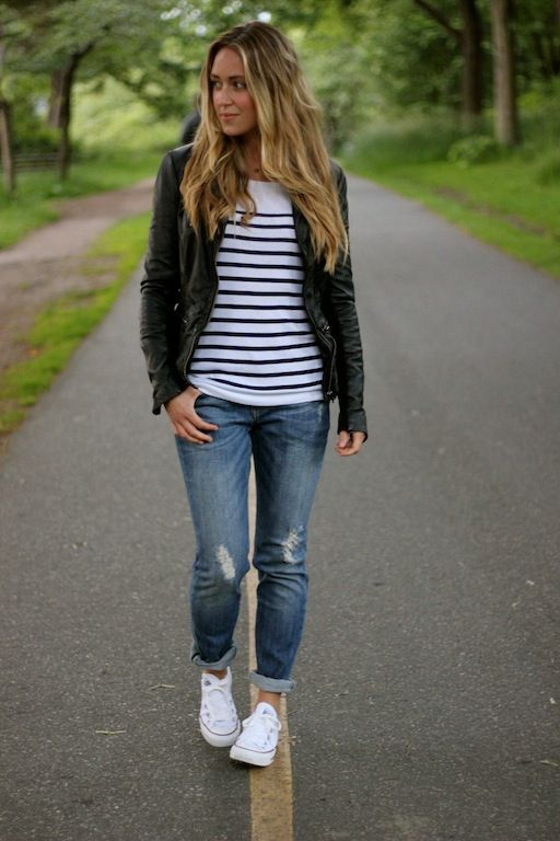 boatneck, sailor stripes, ripped jeans, white chucks and a leather jacket #perfection