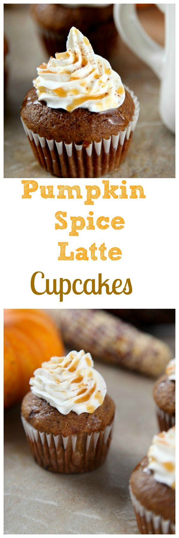 Pumpkin Spice Lattes:Tender pumpkin spice cake topped with sweetened whipped cream and a decadent caramel drizzle.