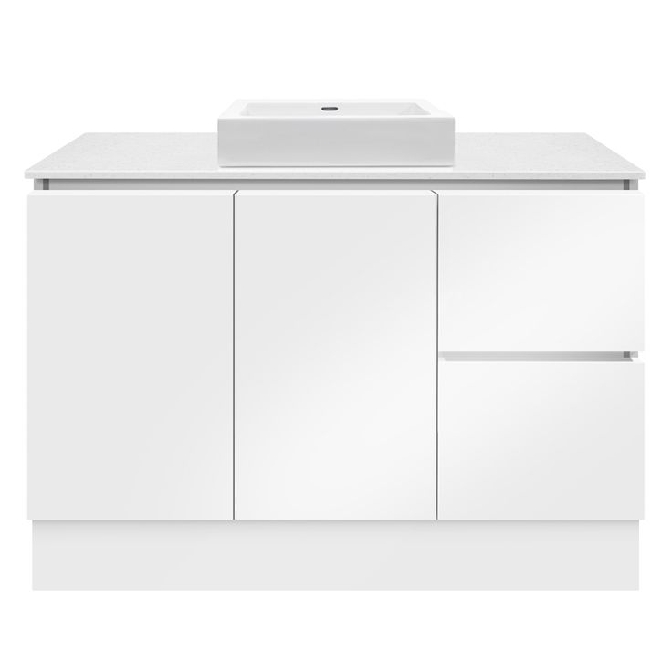 Forme 1200mm Whitestone / White Gloss Parclane Square Basin Floor Vanity