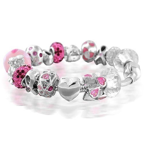 Valentines Day Gifts Bling Jewelry Pink 925 Ribbon Fits Pandora Charm Bracelet Breast Cancer Awareness Jewelry. glass, crystal, and cz beads. snake chain. .925 Sterling silver. Total Weight 46.4 grams.  #Bling_Jewelry #Jewelry