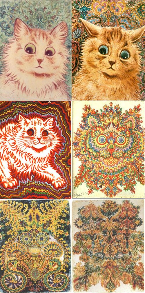 Louis Wain's drawings of cats changed as his schizophrenia progressed.....