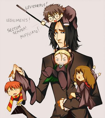 Severus Snape and Babies Anime -- Harry Potter Cast Anime  -  Severus Snape, Harry Potter, Hermione Granger, Ron Weasley, and Draco Malfoy