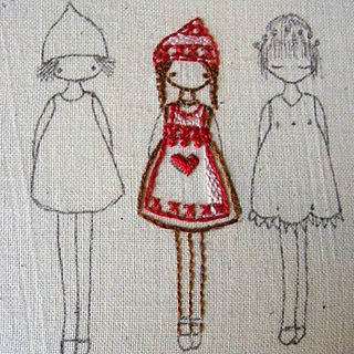 girl in red, embroidery