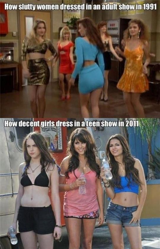 Apologise, but, Girls then vs now what that