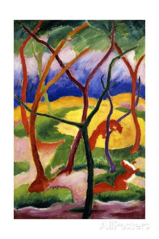 Playing Weasels; Spielende Wiesel, 1911 Giclee Print by Franz Marc at AllPosters.com